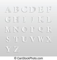 alphabet, papier