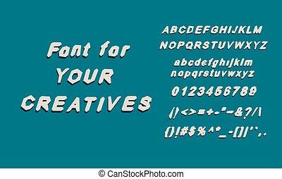 alphabet, police, glyphs, anglaise