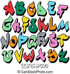 alphabet, police, graffiti
