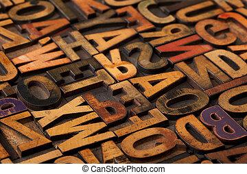 alphabet, résumé, impression bloque, vendange