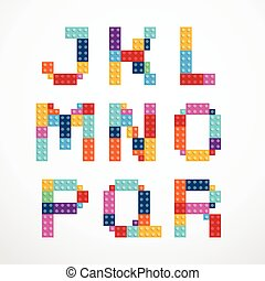alphabet, style, blocs, set.