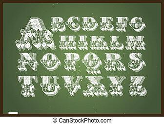 alphabet, vecteur, ensemble, tableau