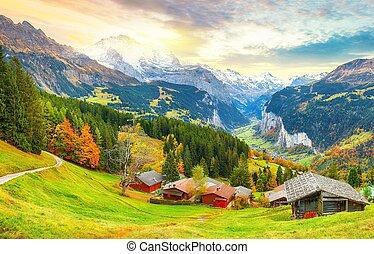 alpin, vallée, vue scénique, automne, village, wengen, pittoresque, lauterbrunnen