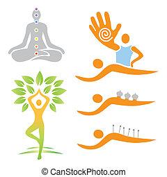 alternative, medi, yoga, masage, icônes