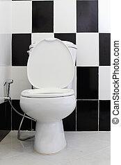 alterner, cuvette, noir, carreau, bathroom., blanc, toile de fond