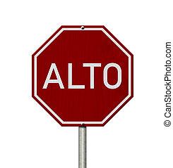 alto, blanc, arrêt, rouges, signe