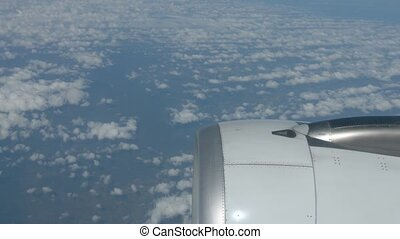 altocumulus, moteur, nuages, pris, perspective, aéroporté, avion ligne, sur