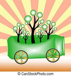 aluminium, arbres, vert, boîtes, concepts, illustrat