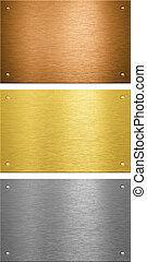 aluminium, cousu, métal, plaques, laiton, rivets, bronze