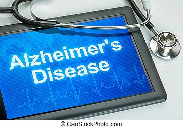 alzheimer, diagnostic, maladie, tablette, exposer