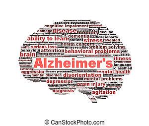 alzheimer, symbole, concept, message, maladie