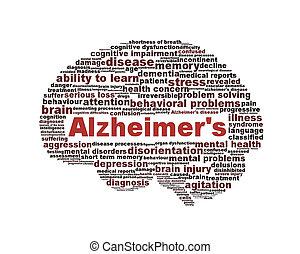 alzheimer, symbole, isolé, maladie, blanc
