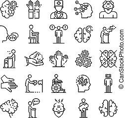 alzheimers, ensemble, style, icônes, maladie, contour