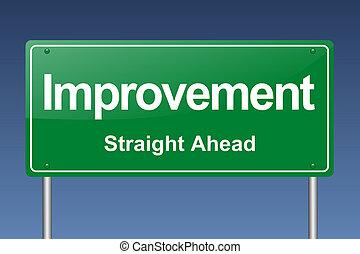 amélioration, panneau de signalisation