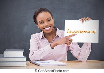 amélioration, tenue, page, heureux, prof, projection