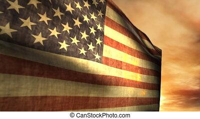 américain, (1040), souffler, coucher soleil, drapeau