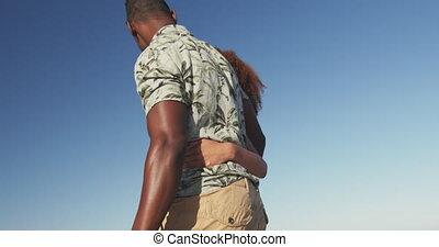 américain, africaine, couple, bord mer, marche