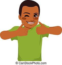 américain, africaine, pouces haut, homme