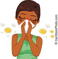 américain, allergie, souffrance, africaine