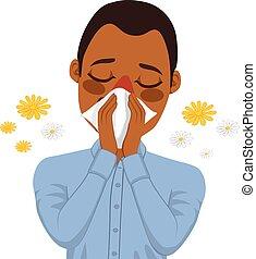 américain, allergie, souffrance, homme africain