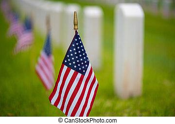 américain, cimetière, vacances, drapeau