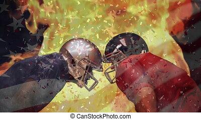 américain, composite, football, image, joueurs, rival