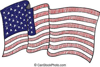 américain, croquis, drapeau
