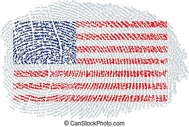 américain, dans, drapeau, empreinte doigt