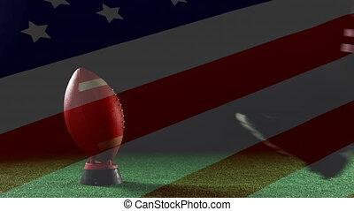 américain, donner coup pied, composition, joueur, boule football