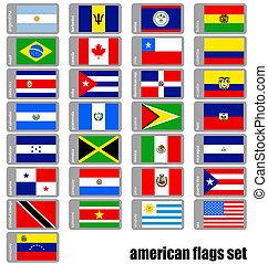 américain, ensemble, drapeaux