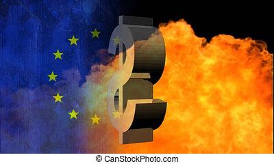 américain, européen, animation, symbole, sur, drapeau, dollar, union, brûler
