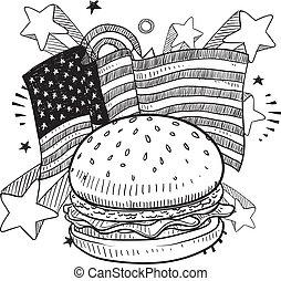 américain, hamburger, croquis