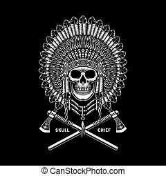 américain indien, traversé, tomahawks, crâne, chef, noir
