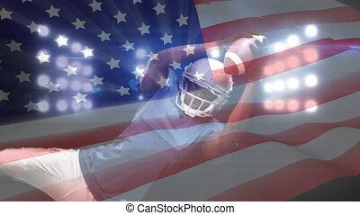 américain, joueur, fond, composition, football, drapeau