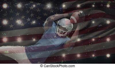 américain, joueur, fond, football, animation, drapeau