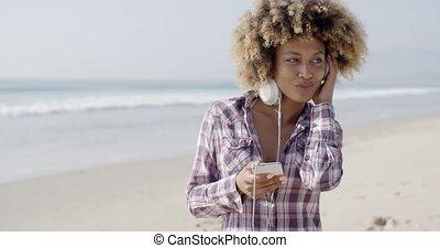 américain, musique, girl, écoute, africaine
