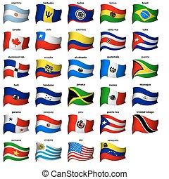 américain, ondulé, drapeaux, ensemble