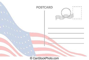 américain, postal, drapeau, carte