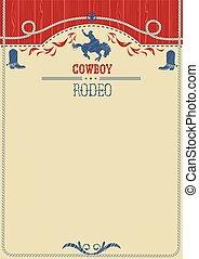 américain, poster., rodéo, cow-boy