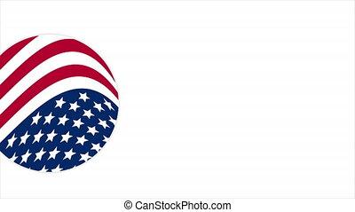 américain, rond, drapeau, logo
