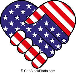 américain, secousse main