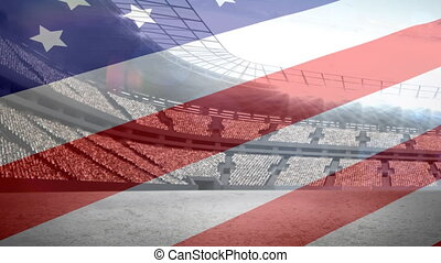 américain, stade, devant, drapeau
