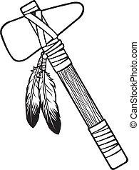 américain, tomahawk, indigène