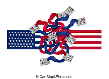 américain, vote, conflit