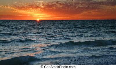 amants, coucher soleil, clã©, boucle