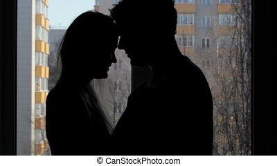 amants, deux, embracing., silhouette.