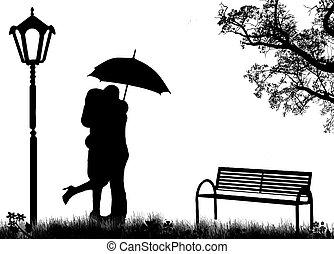 amants, embrassé