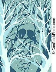 amants, hiver, neigeux, séance, arbres, silhouettes, temps, nu, paire, image., oiseaux, tridimensionnel