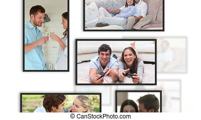 amants, vidéos, cadre, montage