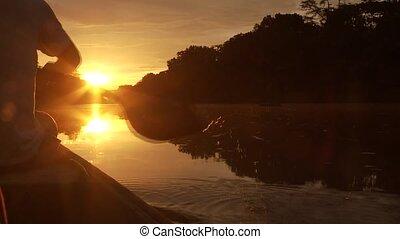 amazone, paddeling, coucher soleil, -boat